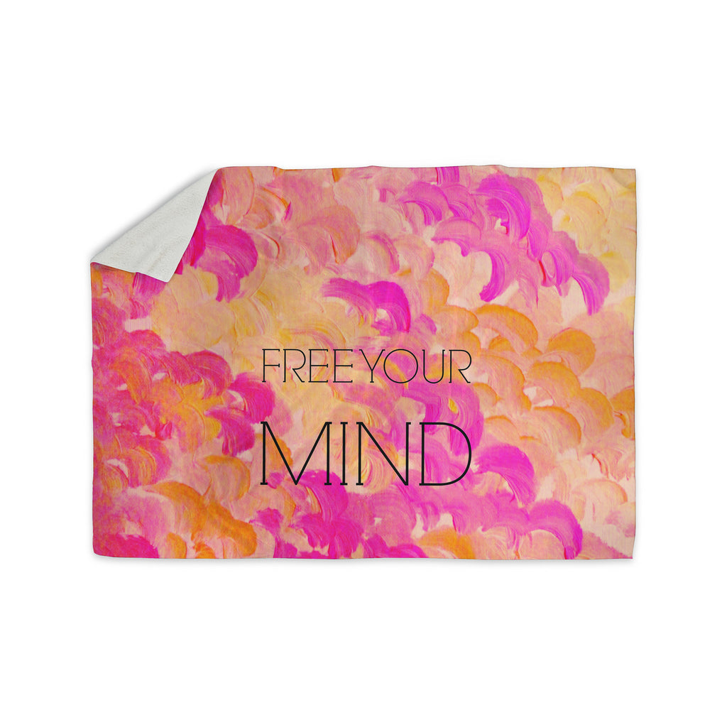"Ebi Emporium ""Free Your Mind Pink"" Pink Orange Sherpa Blanket - KESS InHouse  - 1"
