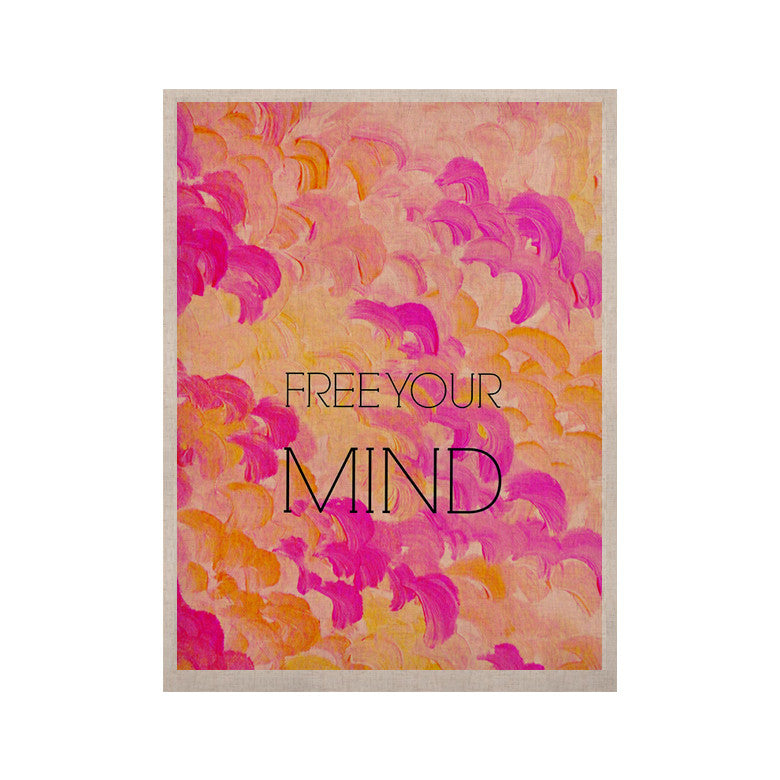 "Ebi Emporium ""Free Your Mind Pink"" Pink Orange KESS Naturals Canvas (Frame not Included) - KESS InHouse  - 1"