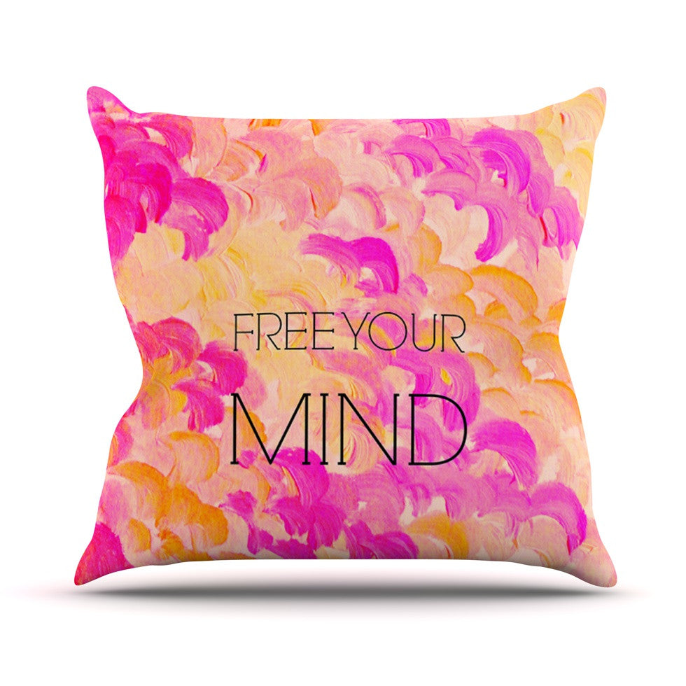 "Ebi Emporium ""Free Your Mind Pink"" Pink Orange Outdoor Throw Pillow - KESS InHouse  - 1"