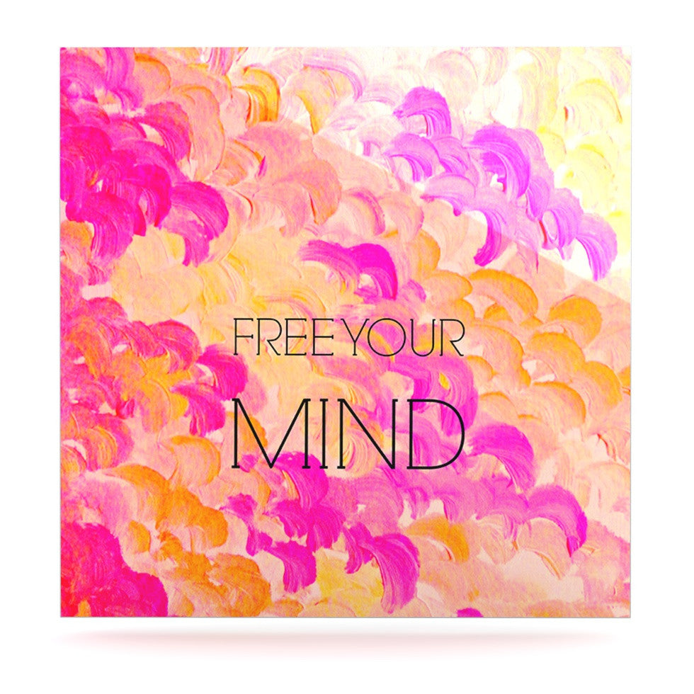 "Ebi Emporium ""Free Your Mind Pink"" Pink Orange Luxe Square Panel - KESS InHouse  - 1"