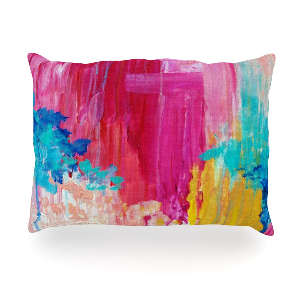 "Ebi Emporium ""Elated"" Multicolor Paint Oblong Pillow - KESS InHouse"