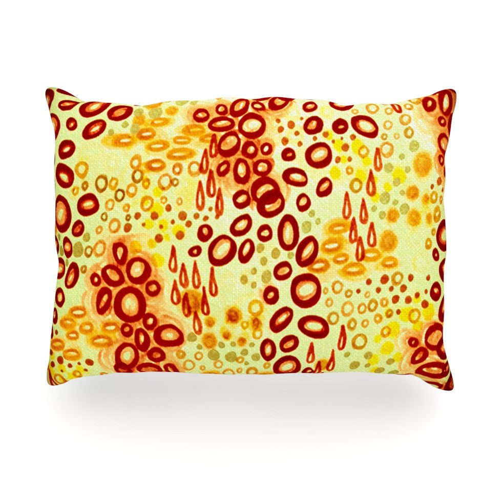 "Ebi Emporium ""Circular Persuasian Brown"" Yellow Oblong Pillow - KESS InHouse"