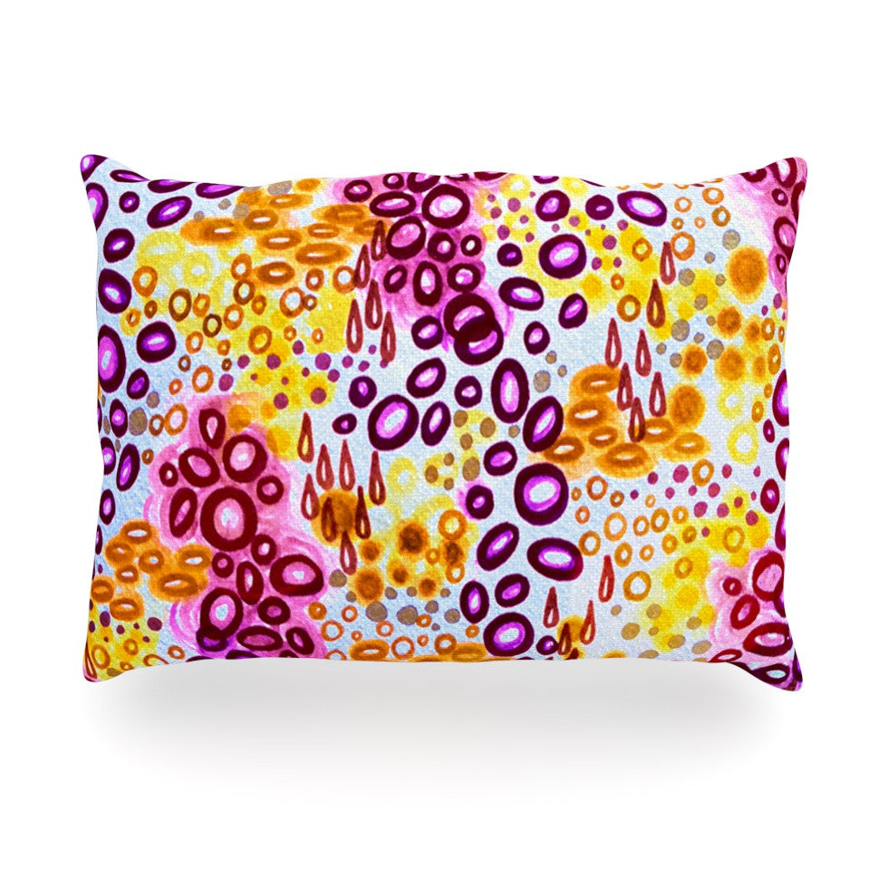 "Ebi Emporium ""Circular Persuasion Purple"" Yellow Pink Oblong Pillow - KESS InHouse"