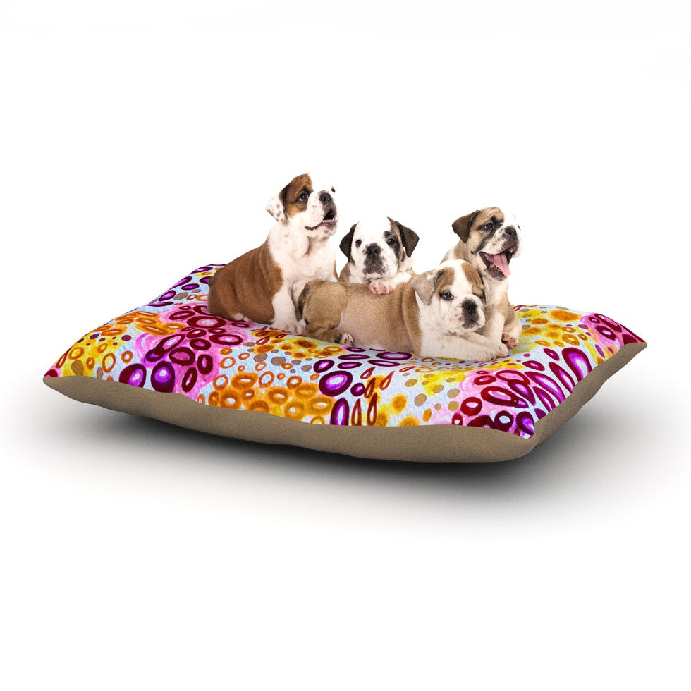 "Ebi Emporium ""Circular Persuasion Purple"" Yellow Pink Dog Bed - KESS InHouse  - 1"