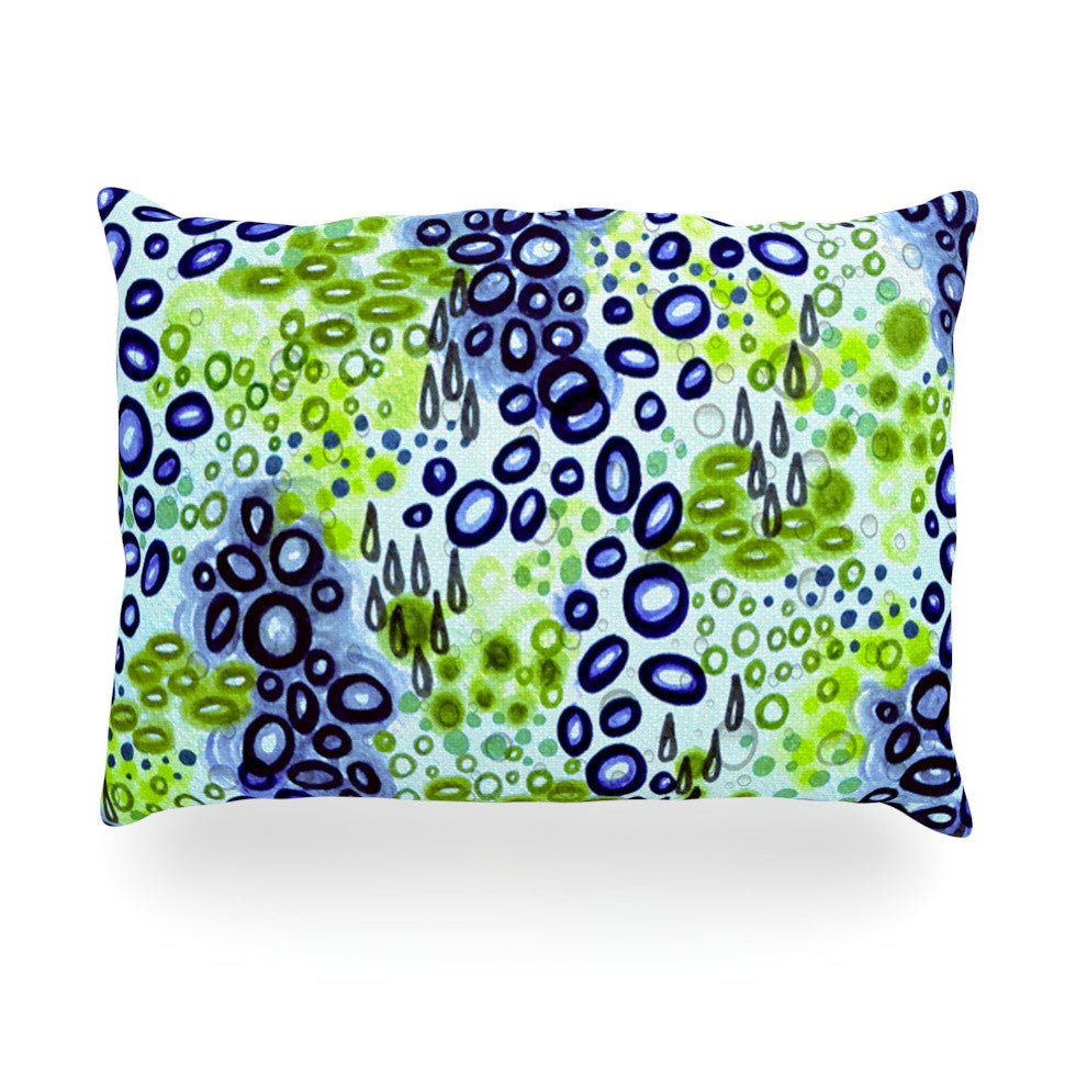 "Ebi Emporium ""Circular Persuasion Blue Green"" Aqua Turquoise Oblong Pillow - KESS InHouse"