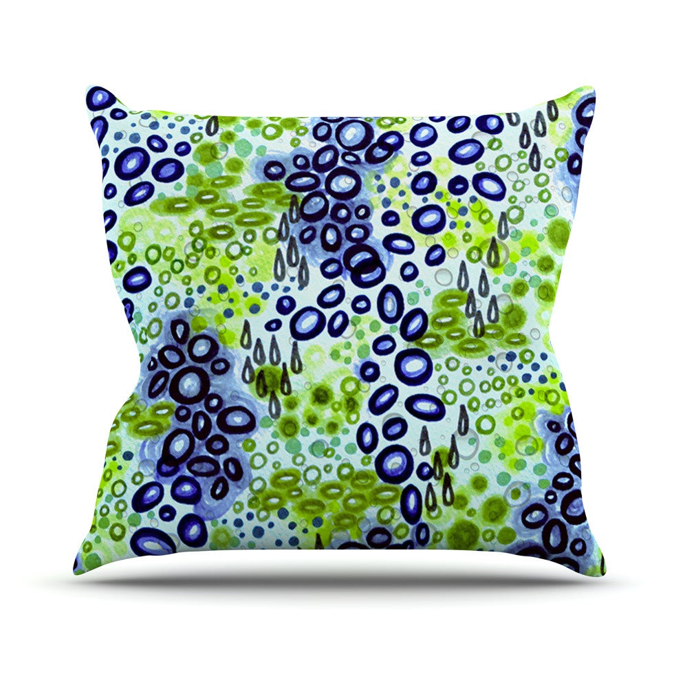 "Ebi Emporium ""Circular Persuasion Blue Green"" Aqua Turquoise Outdoor Throw Pillow - KESS InHouse  - 1"