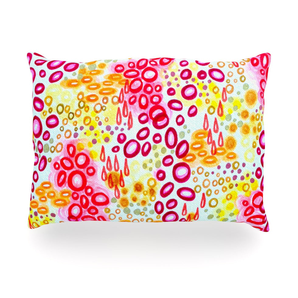 "Ebi Emporium ""Circular Persuasion Pink Yellow"" Magenta Oblong Pillow - KESS InHouse"