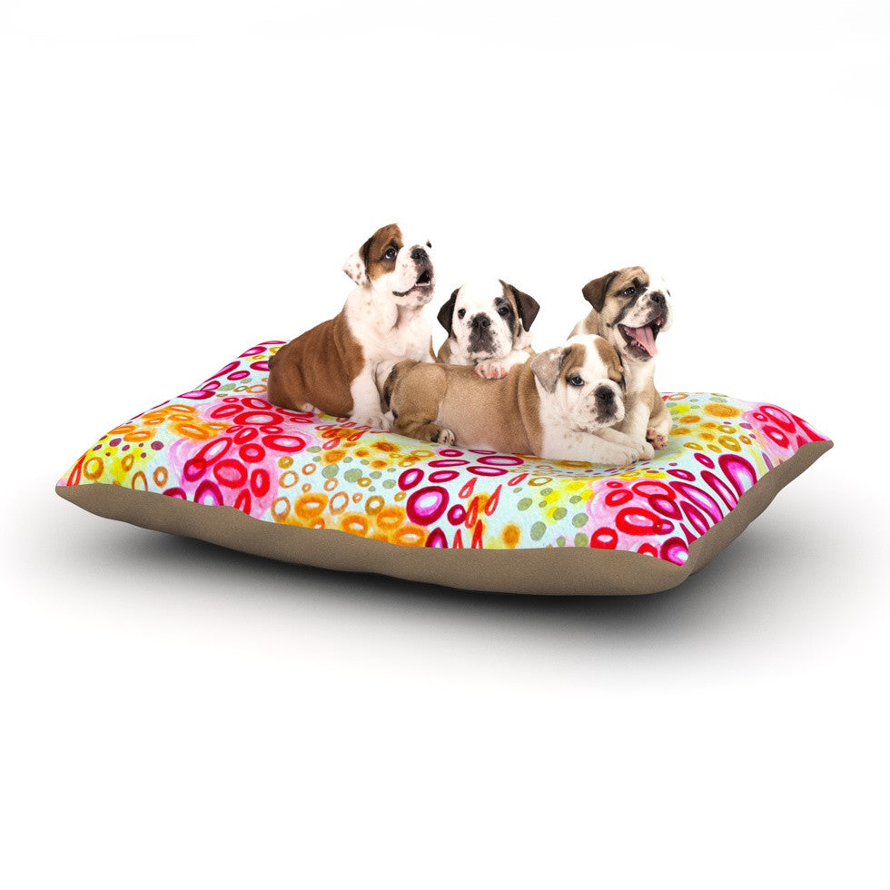 "Ebi Emporium ""Circular Persuasion Pink Yellow"" Magenta Dog Bed - KESS InHouse  - 1"