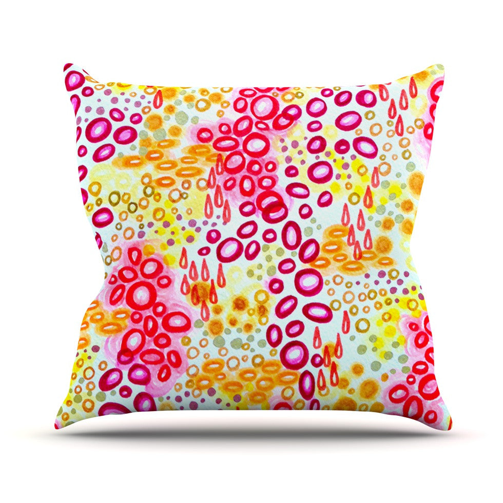 "Ebi Emporium ""Circular Persuasion Pink Yellow"" Magenta Outdoor Throw Pillow - KESS InHouse  - 1"