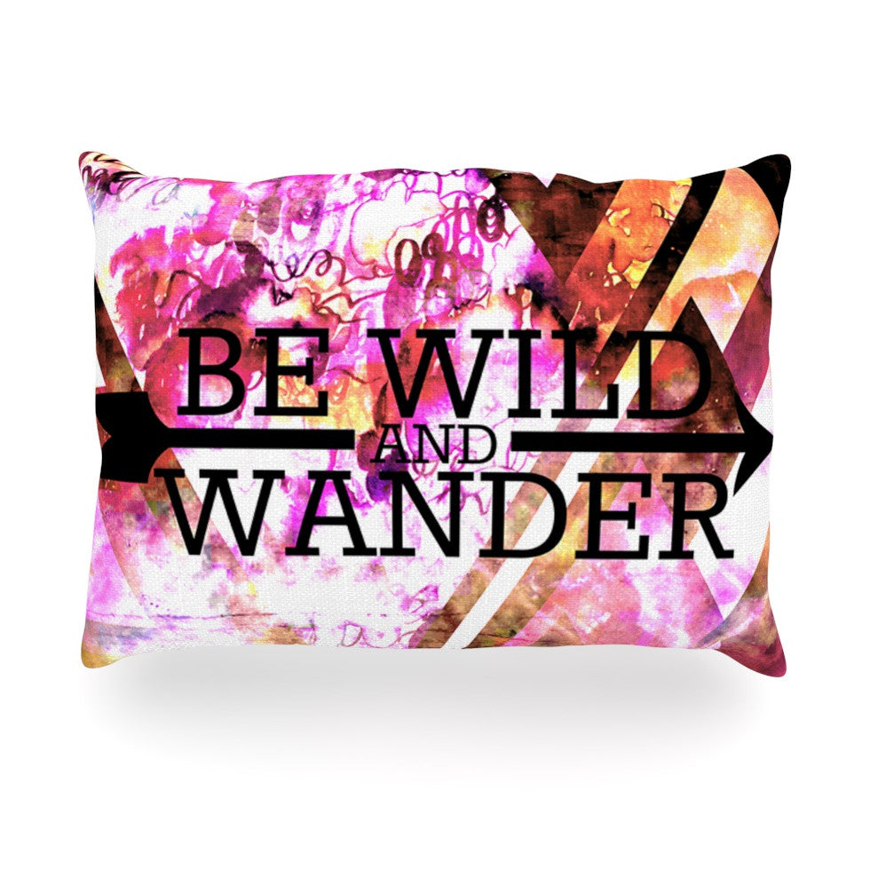 "Ebi Emporium ""Be Wild and Wander"" Pink Oblong Pillow - KESS InHouse"