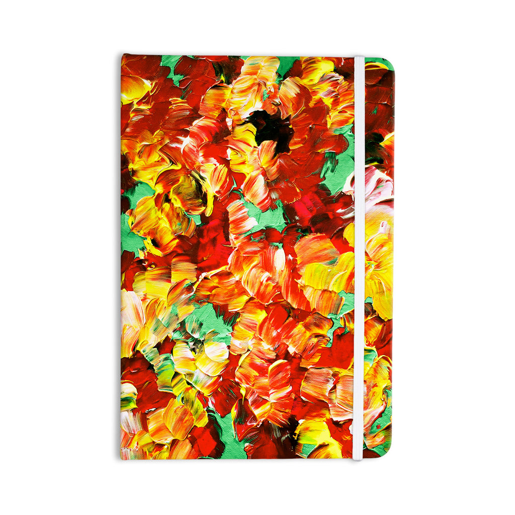 "Ebi Emporium ""Floral Fantasy II"" Orange Yellow Everything Notebook - KESS InHouse  - 1"