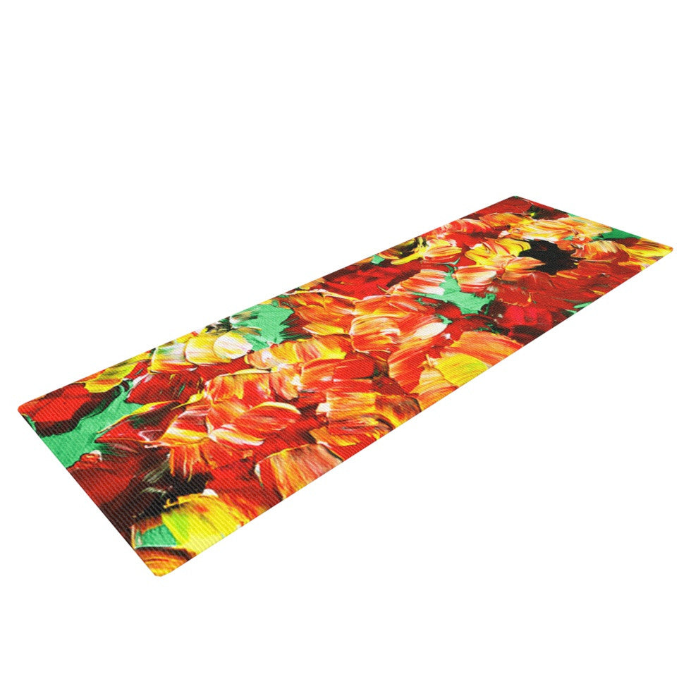 "Ebi Emporium ""Floral Fantasy II"" Orange Yellow Yoga Mat - KESS InHouse  - 1"