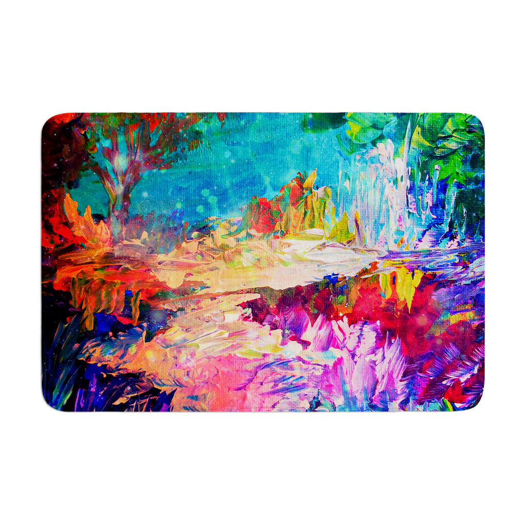 "Ebi Emporium ""Welcome to Utopia"" Rainbow Memory Foam Bath Mat - KESS InHouse"