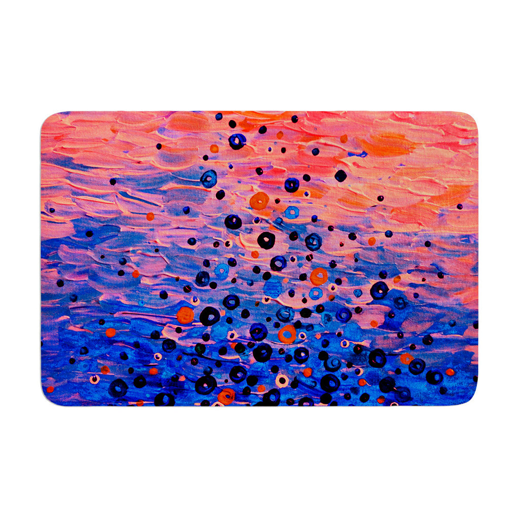"Ebi Emporium ""What Goes Up"" Blue Pink Memory Foam Bath Mat - KESS InHouse"