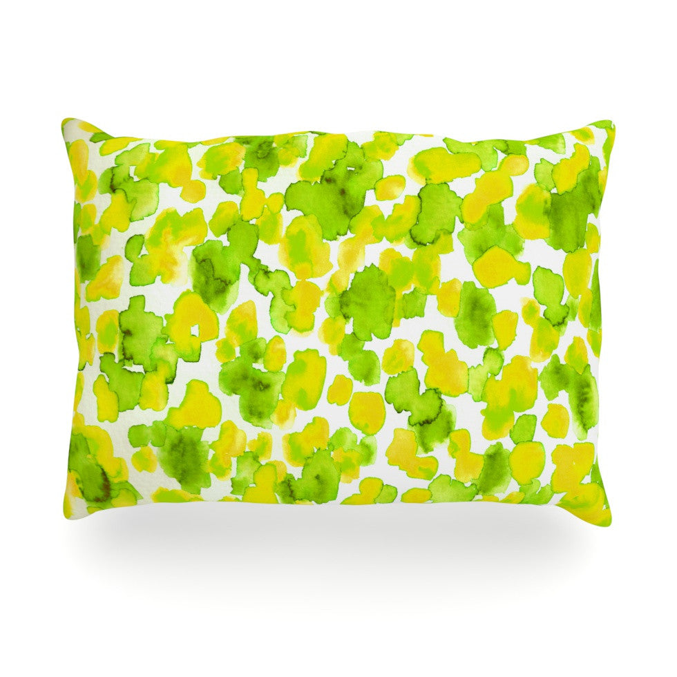 "Ebi Emporium ""Giraffe Spots - Lemon Lime"" Green Yellow Oblong Pillow - KESS InHouse"