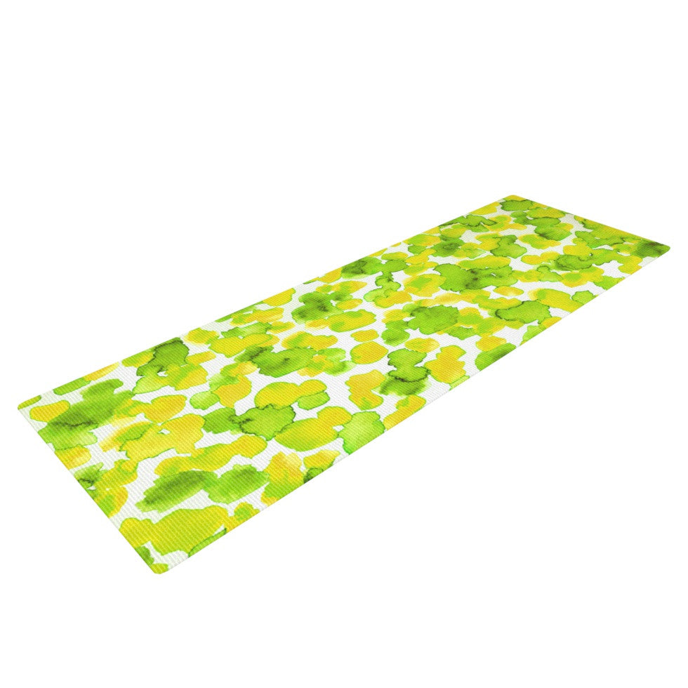 "Ebi Emporium ""Giraffe Spots - Lemon Lime"" Green Yellow Yoga Mat - KESS InHouse  - 1"