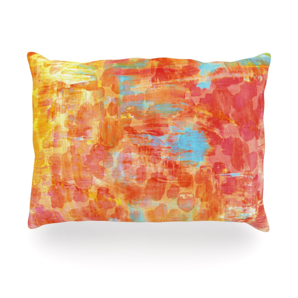 "Ebi Emporium ""Pastel Jungle"" Orange Red Oblong Pillow - KESS InHouse"