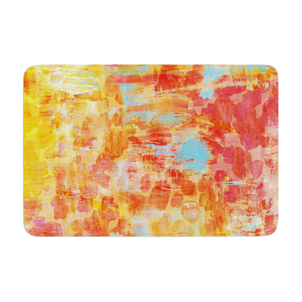 "Ebi Emporium ""Pastel Jungle"" Orange Red Memory Foam Bath Mat - KESS InHouse"