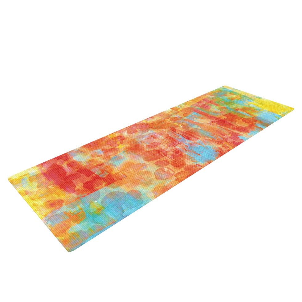 "Ebi Emporium ""Pastel Jungle"" Orange Red Yoga Mat - KESS InHouse  - 1"