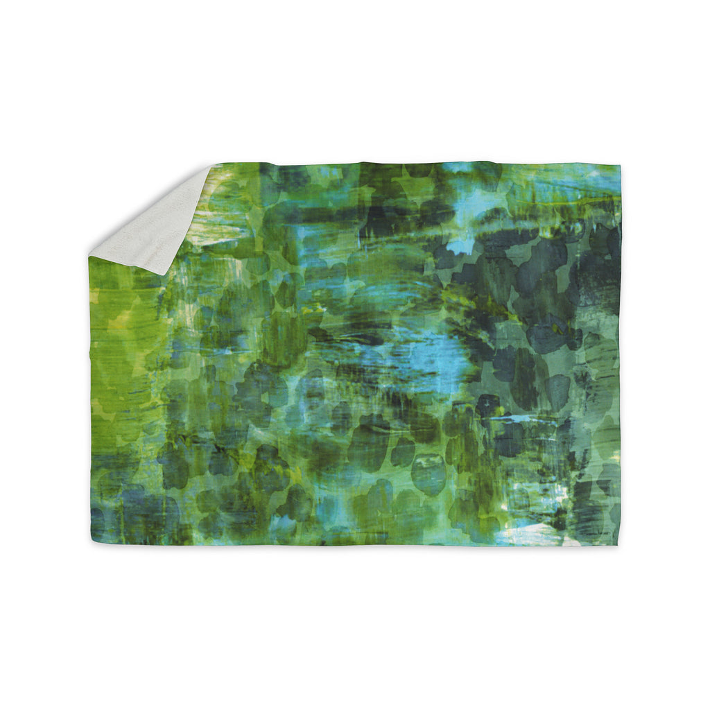 "Ebi Emporium ""Pastel Jungle II"" Green Blue Sherpa Blanket - KESS InHouse  - 1"