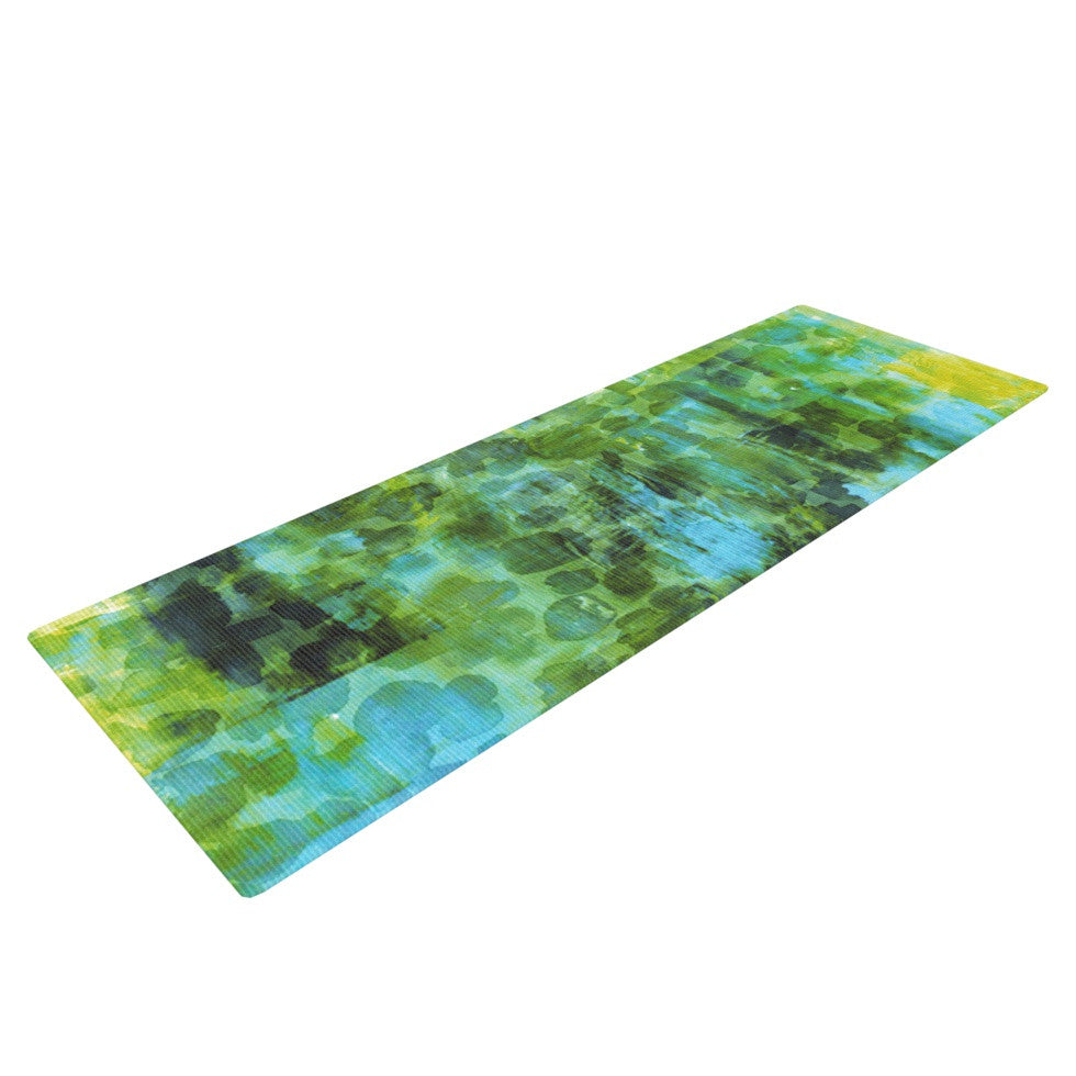"Ebi Emporium ""Pastel Jungle II"" Green Blue Yoga Mat - KESS InHouse  - 1"