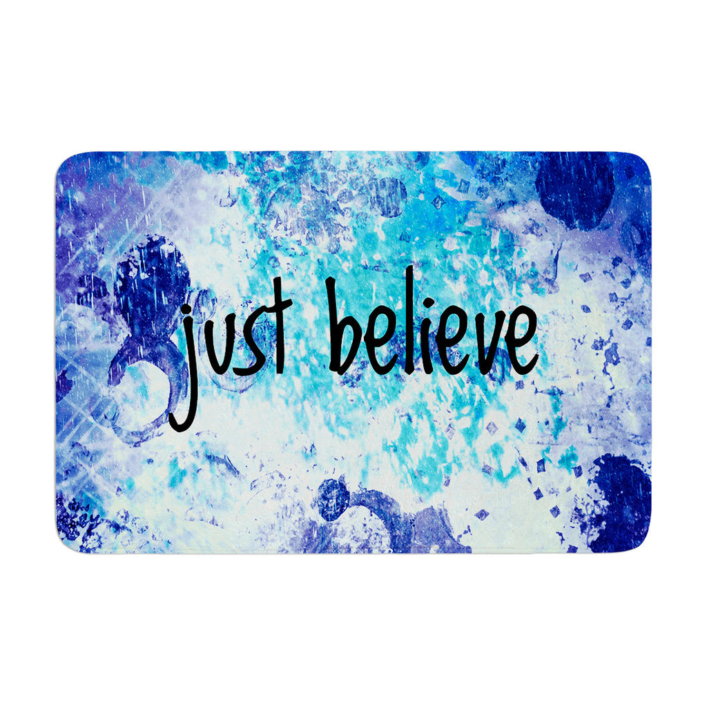 "Ebi Emporium ""Just Believe"" Blue Purple Memory Foam Bath Mat - KESS InHouse"