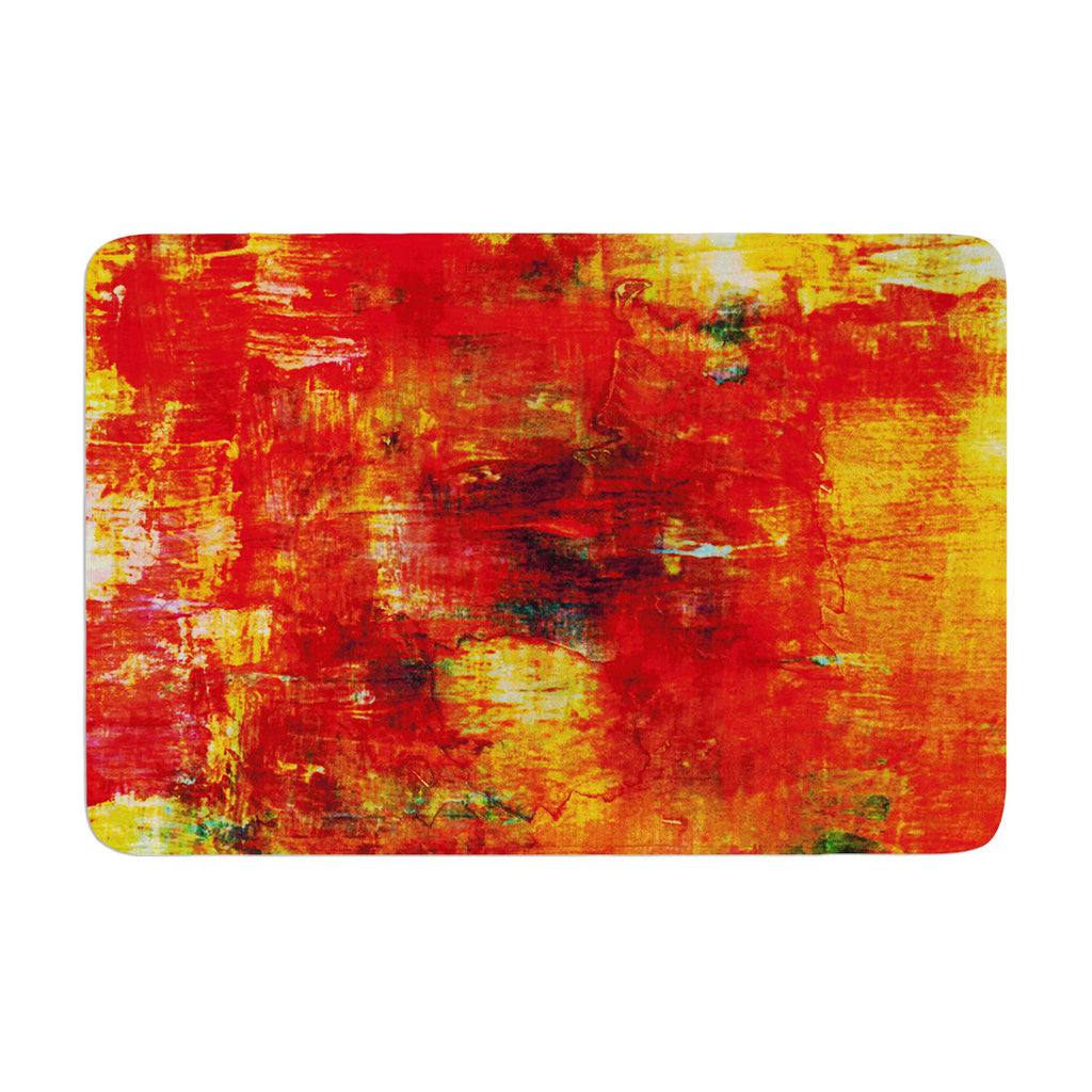 "Ebi Emporium ""Autumn Harvest"" Red Orange Memory Foam Bath Mat - KESS InHouse"