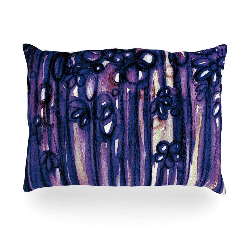 "Ebi Emporium ""Winter Garden in Violet"" Purple Oblong Pillow - KESS InHouse"