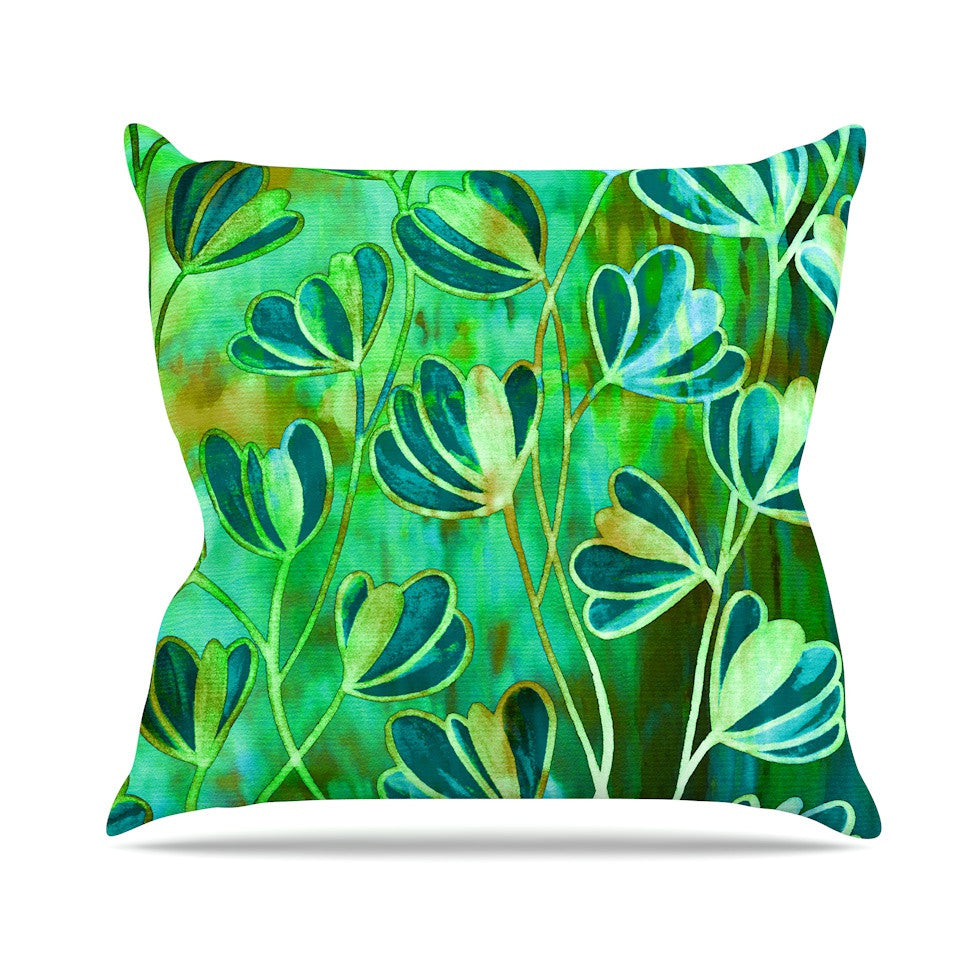"Ebi Emporium ""Effloresence - Blue Green"" Teal Green Outdoor Throw Pillow - KESS InHouse  - 1"