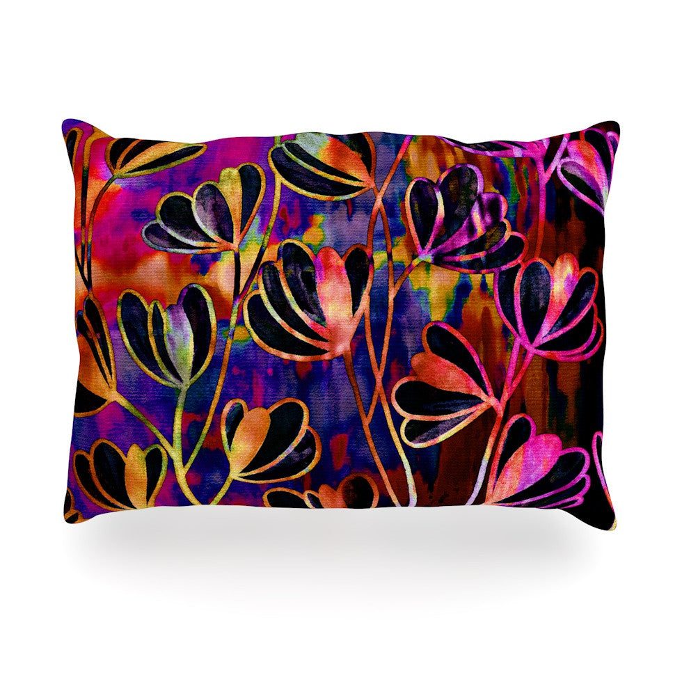 "Ebi Emporium ""Efflorescence - Deep Jewel"" Pink Rainbow Oblong Pillow - KESS InHouse"