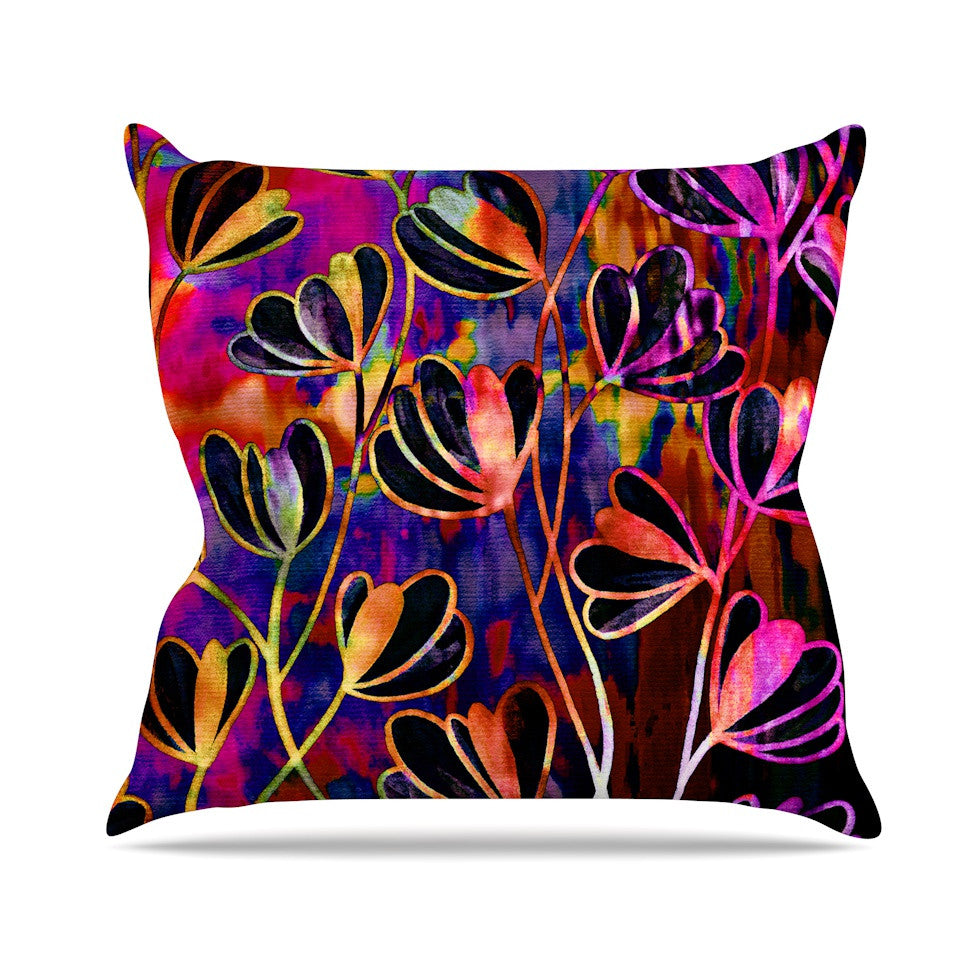 "Ebi Emporium ""Efflorescence - Deep Jewel"" Pink Rainbow Outdoor Throw Pillow - KESS InHouse  - 1"