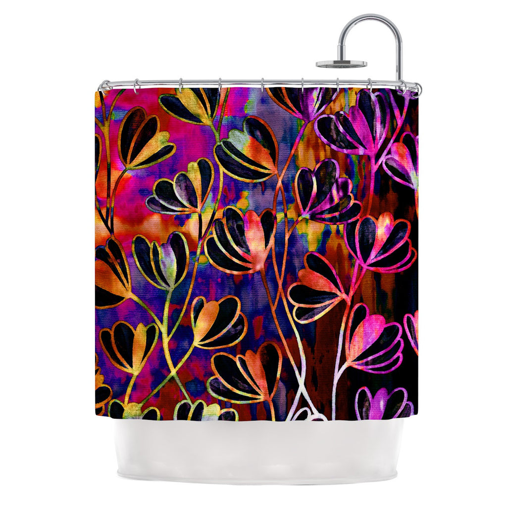 "Ebi Emporium ""Efflorescence - Deep Jewel"" Pink Rainbow Shower Curtain - KESS InHouse"
