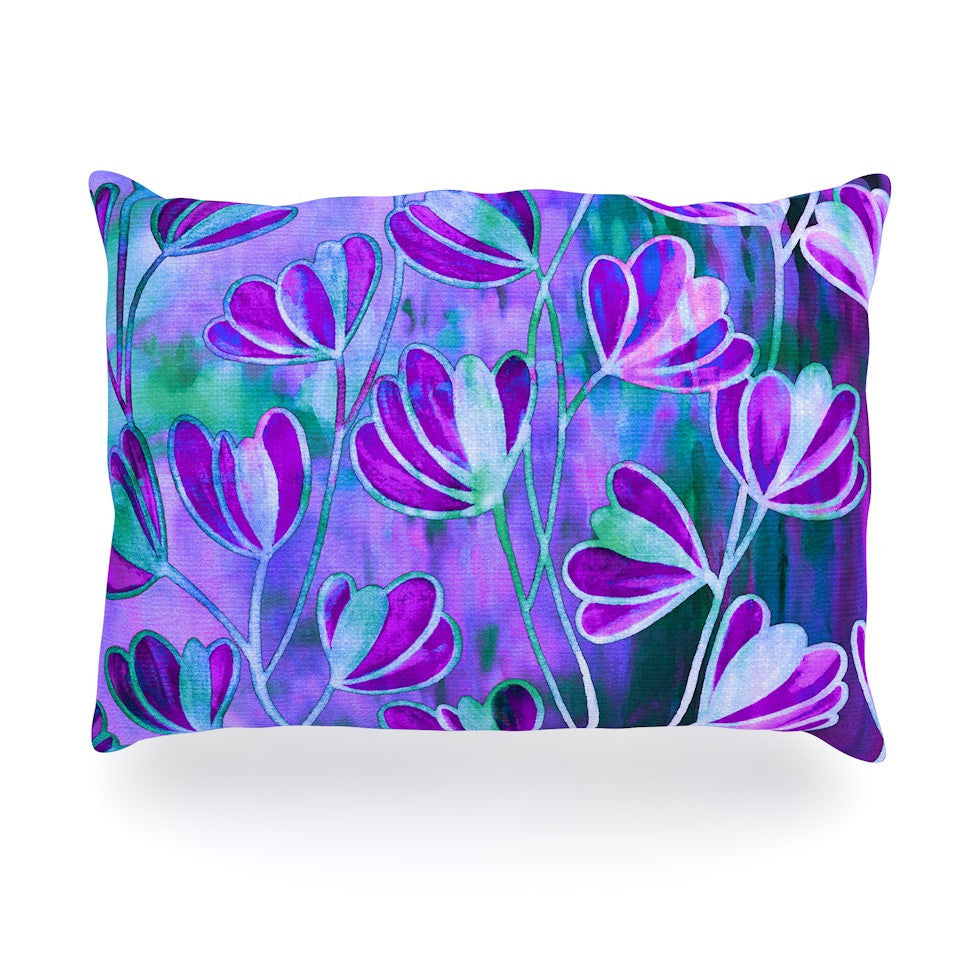 "Ebi Emporium ""Efflorescence - Lavender Blue"" Teal Purple Oblong Pillow - KESS InHouse"