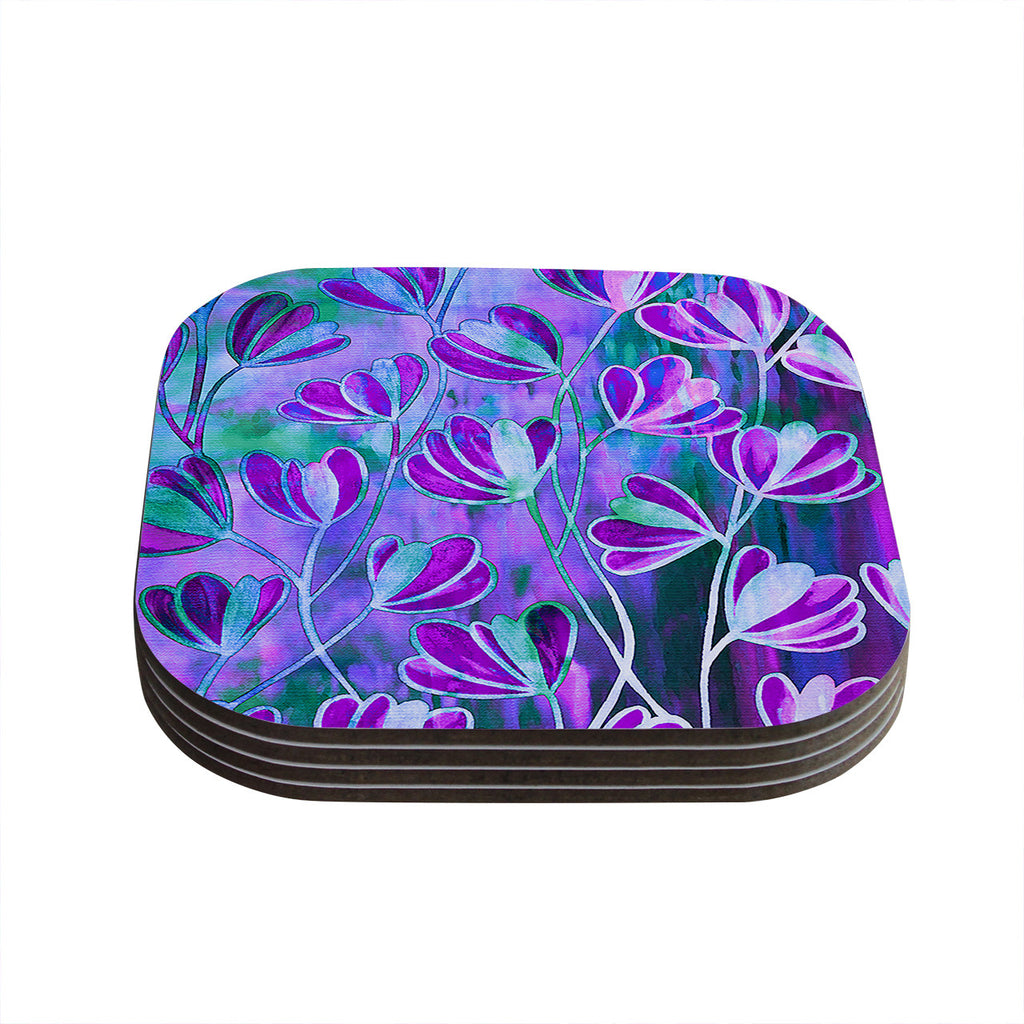 "Ebi Emporium ""Efflorescence - Lavender Blue"" Teal Purple Coasters (Set of 4)"