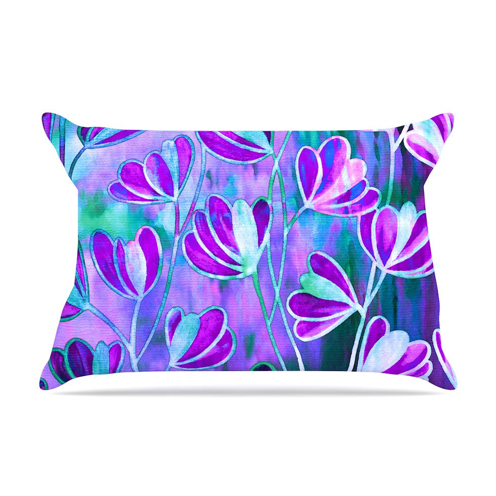 "Ebi Emporium ""Efflorescence - Lavender Blue"" Teal Purple Pillow Sham - KESS InHouse"