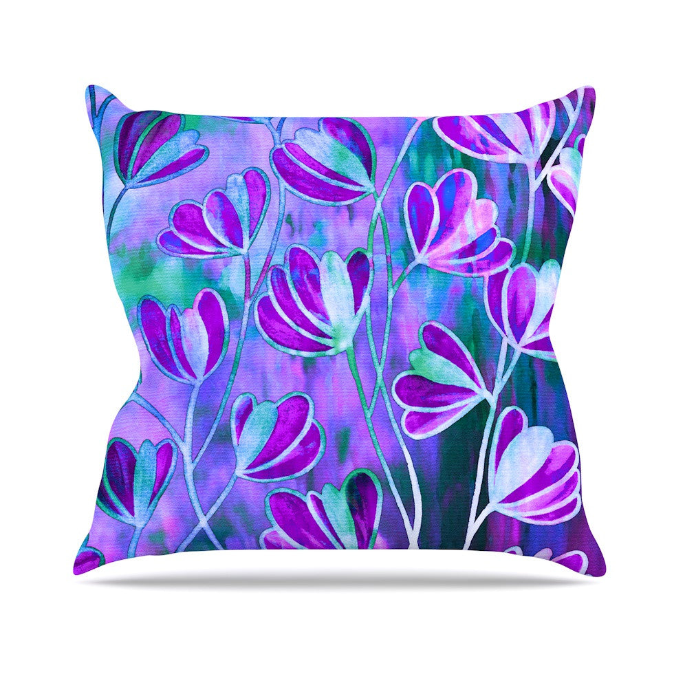 "Ebi Emporium ""Efflorescence - Lavender Blue"" Teal Purple Throw Pillow - KESS InHouse  - 1"