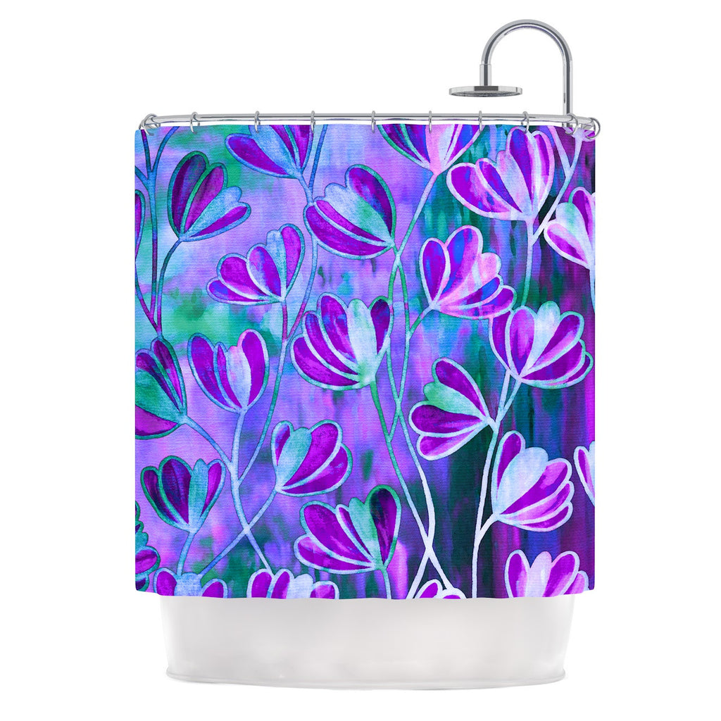"Ebi Emporium ""Efflorescence - Lavender Blue"" Teal Purple Shower Curtain - KESS InHouse"