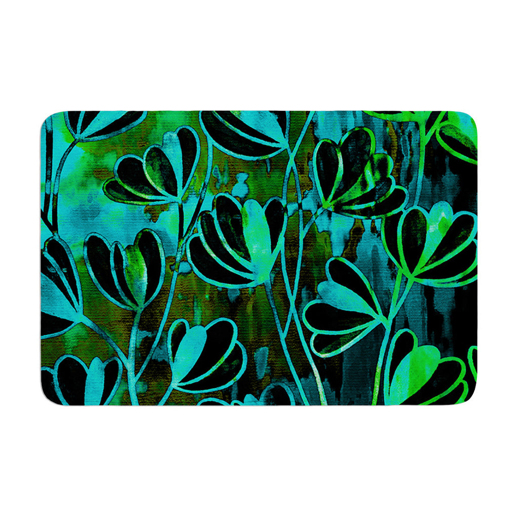 "Ebi Emporium ""Efflorescence - Lime Green"" Teal Black Memory Foam Bath Mat - KESS InHouse"