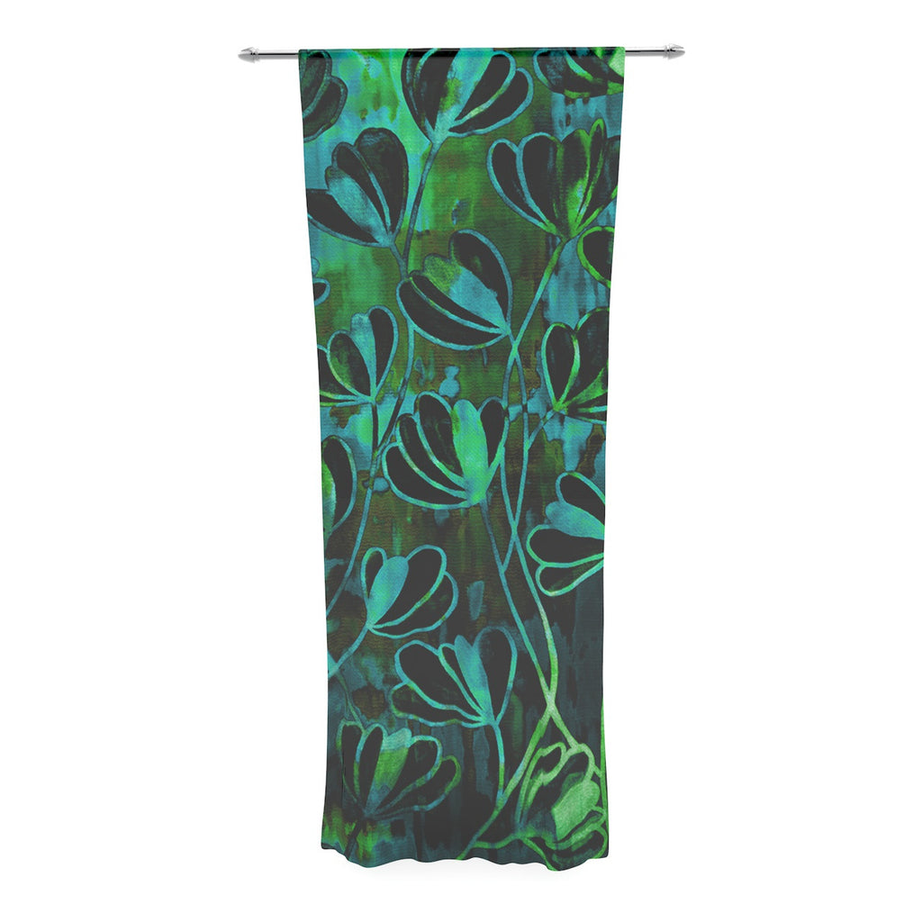 "Ebi Emporium ""Efflorescence - Lime Green"" Teal Black Decorative Sheer Curtain - KESS InHouse  - 1"