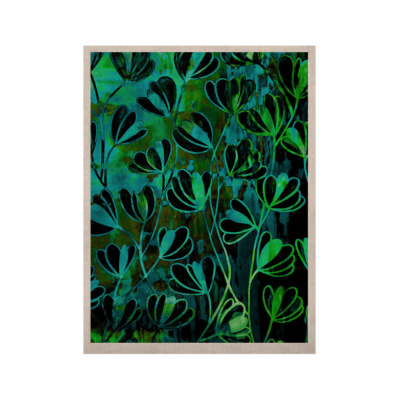 "Ebi Emporium ""Efflorescence - Lime Green"" Teal Black KESS Naturals Canvas (Frame not Included) - KESS InHouse  - 1"