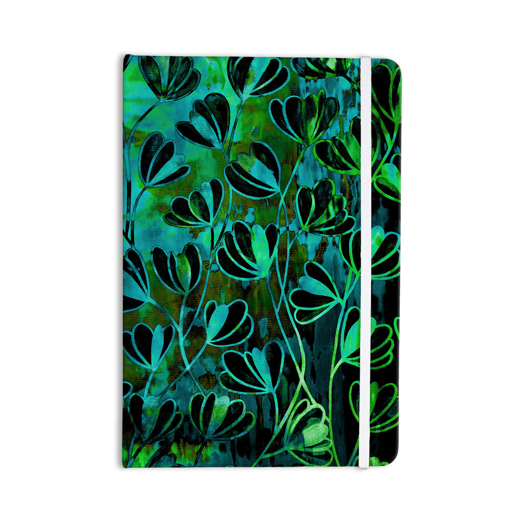 "Ebi Emporium ""Efflorescence - Lime Green"" Teal Black Everything Notebook - KESS InHouse  - 1"