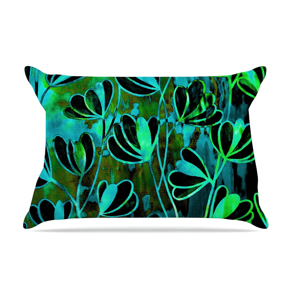 "Ebi Emporium ""Efflorescence - Lime Green"" Teal Black Pillow Sham - KESS InHouse"