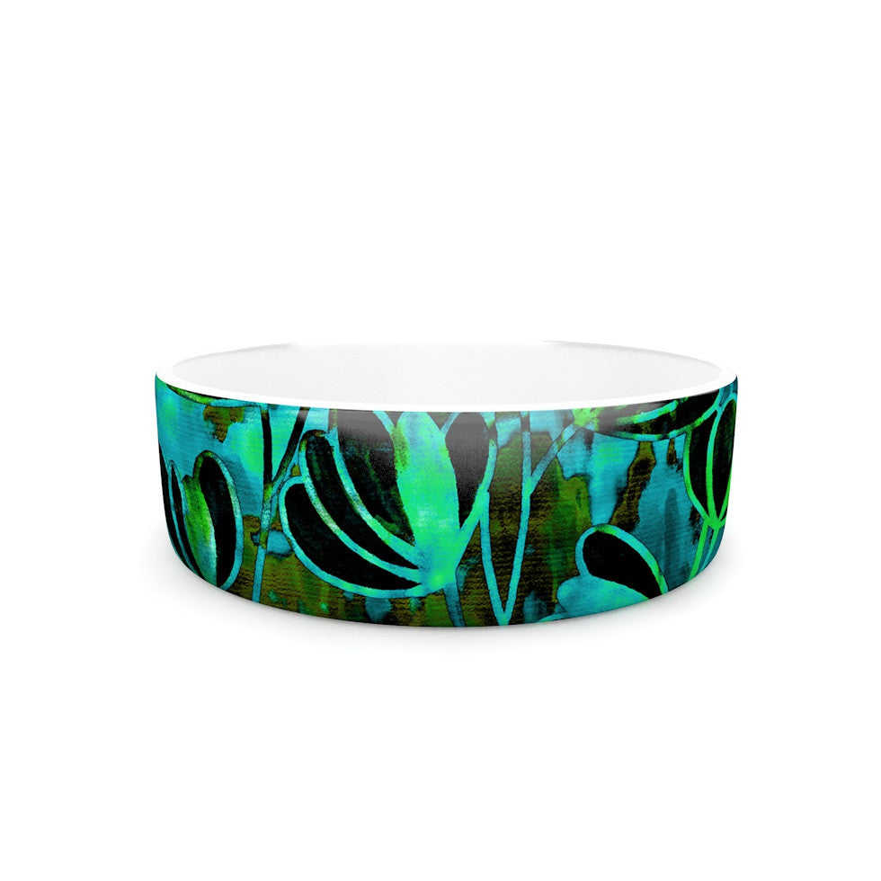 "Ebi Emporium ""Efflorescence - Lime Green"" Teal Black Pet Bowl - KESS InHouse"