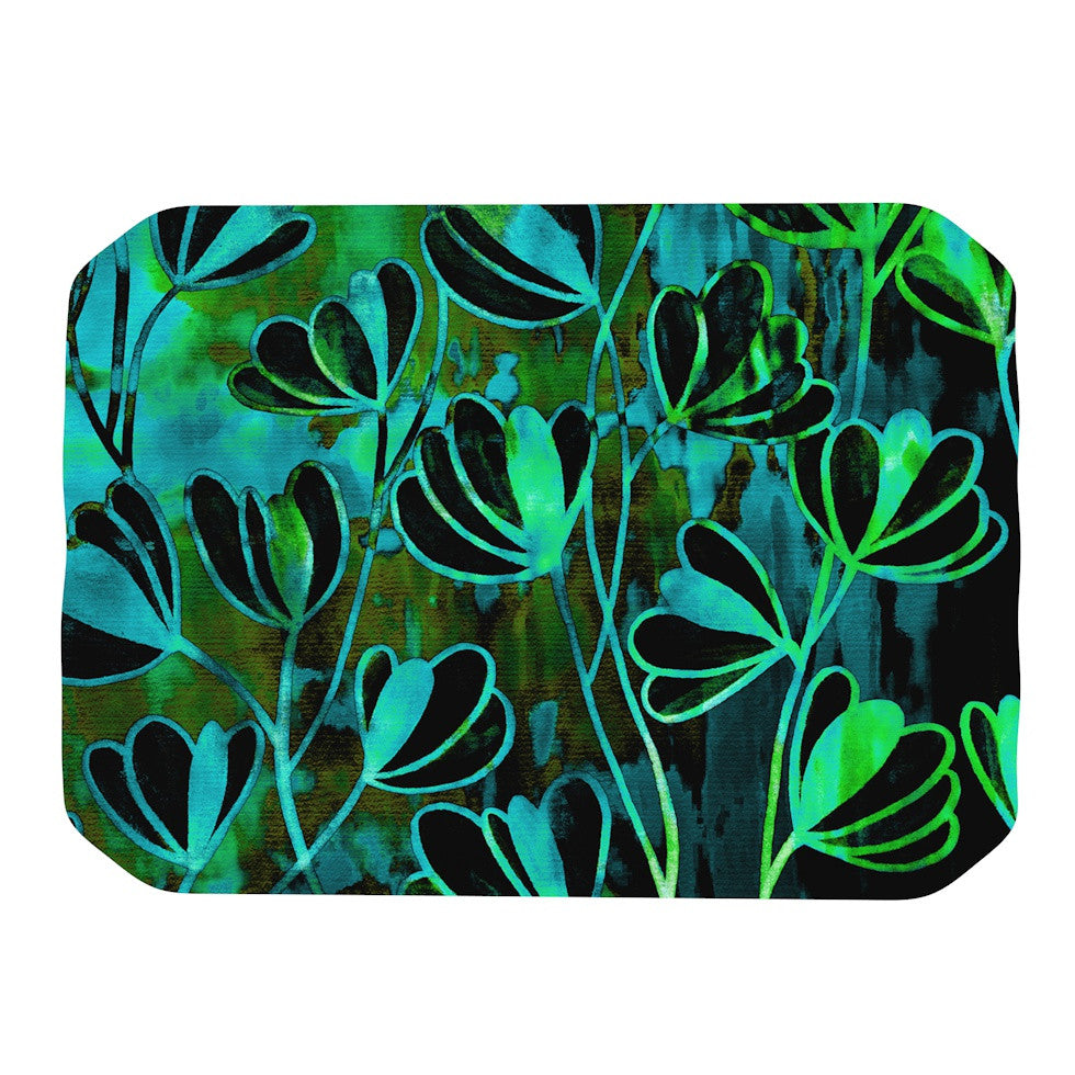 "Ebi Emporium ""Efflorescence - Lime Green"" Teal Black Place Mat - KESS InHouse"