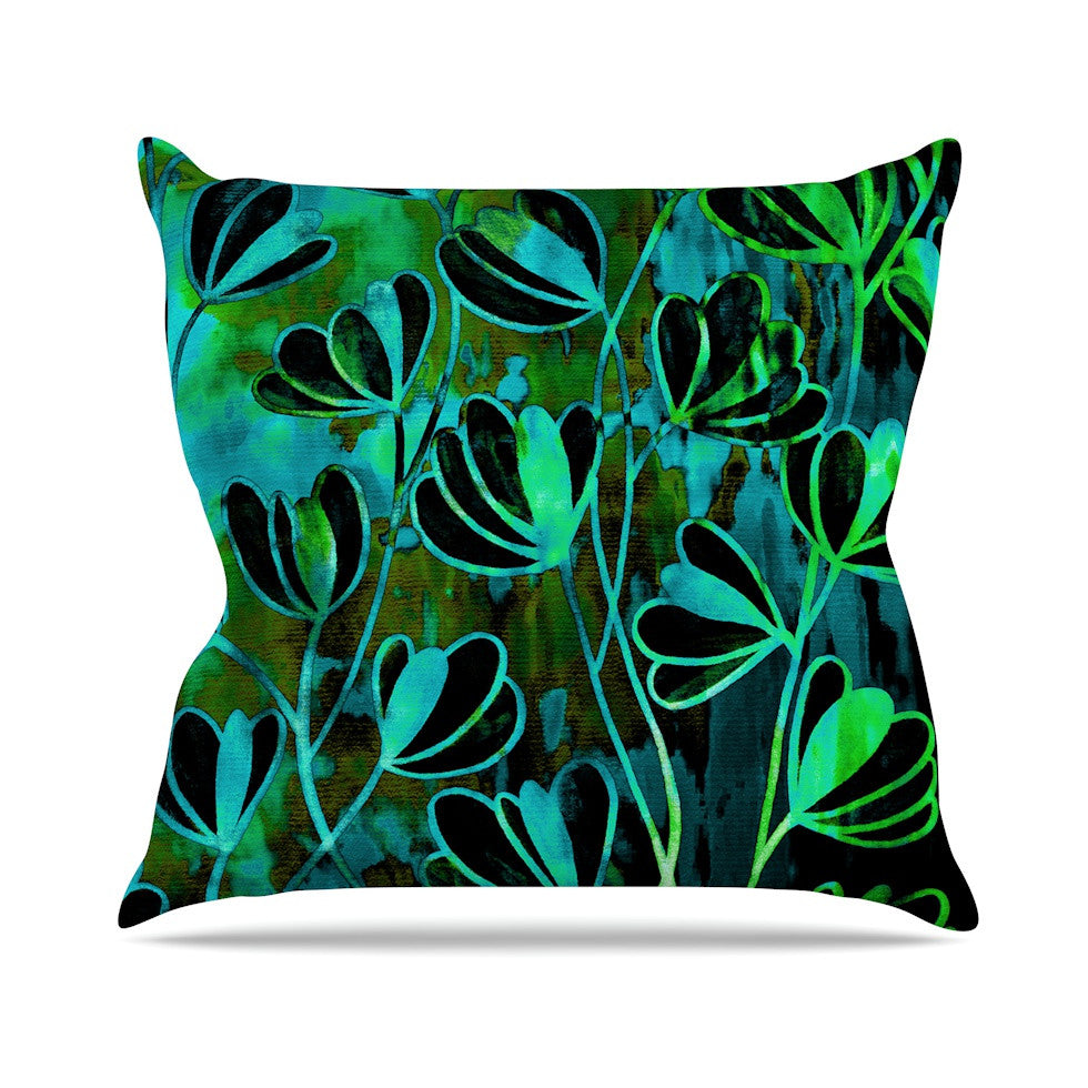"Ebi Emporium ""Efflorescence - Lime Green"" Teal Black Outdoor Throw Pillow - KESS InHouse  - 1"