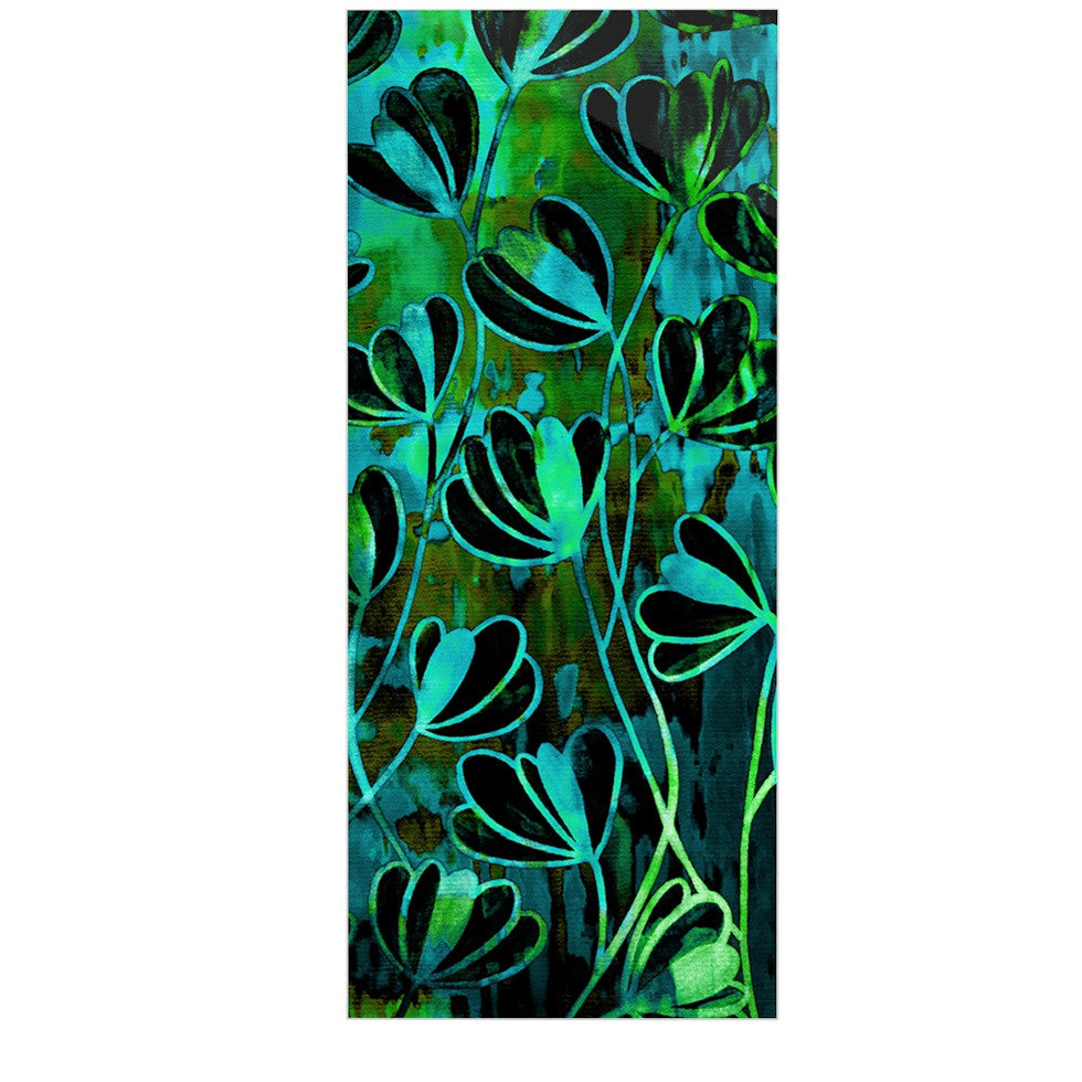 "Ebi Emporium ""Efflorescence - Lime Green"" Teal Black Luxe Rectangle Panel - KESS InHouse  - 1"