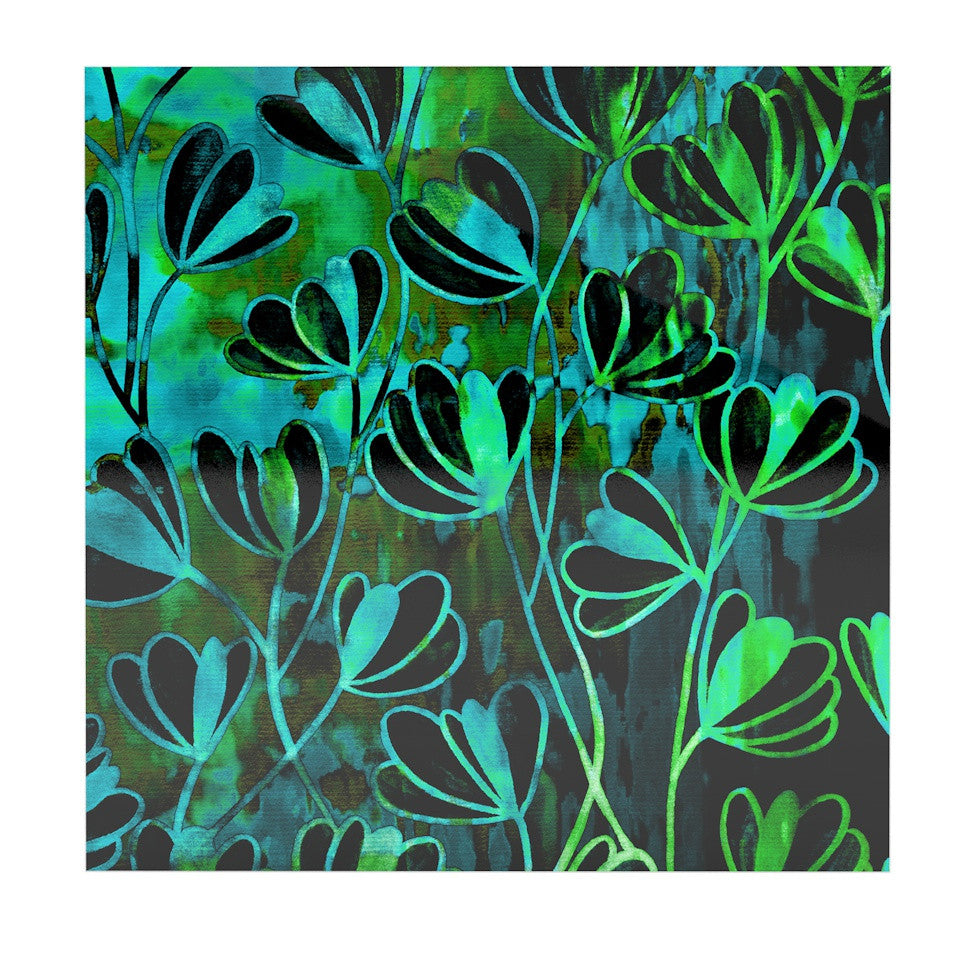 "Ebi Emporium ""Efflorescence - Lime Green"" Teal Black Luxe Square Panel - KESS InHouse  - 1"