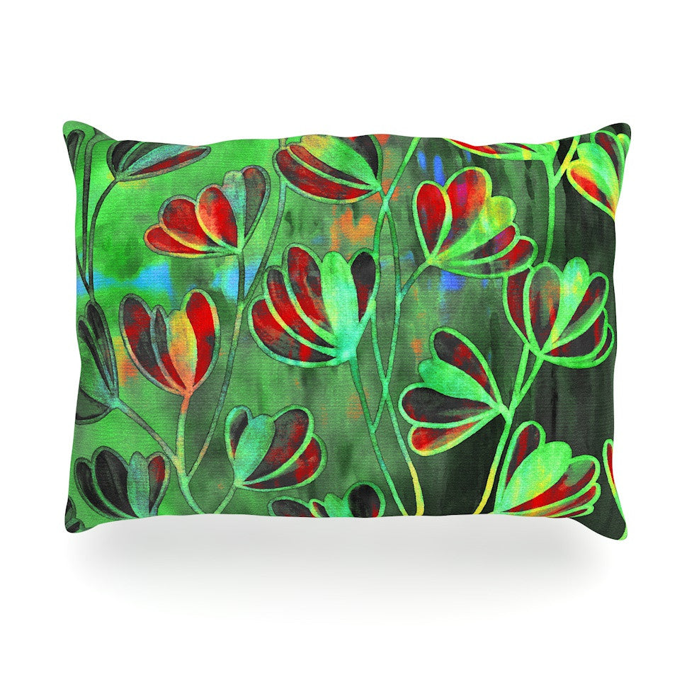 "Ebi Emporium ""Efflorescence - Red Green"" Lime Crimson Oblong Pillow - KESS InHouse"