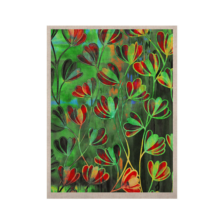 "Ebi Emporium ""Efflorescence - Red Green"" Lime Crimson KESS Naturals Canvas (Frame not Included) - KESS InHouse  - 1"