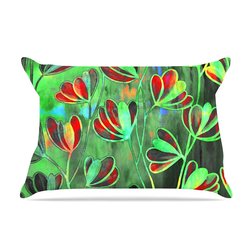 "Ebi Emporium ""Efflorescence - Red Green"" Lime Crimson Pillow Sham - KESS InHouse"